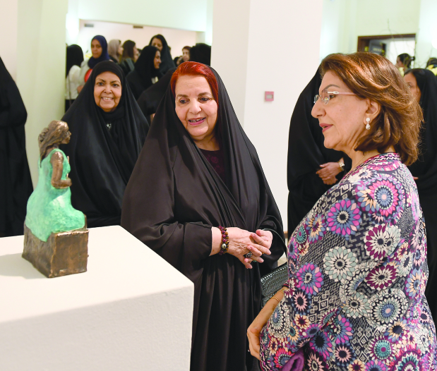 <p>Her Royal Highness Princess Sabeeka bint Ibrahim Al Khalifa, wife of His Majesty King Hamad and Supreme Council for Women president, yesterday patronised the opening of a fine arts exhibition by Bahraini artist Mariam Fakhro. It is being held at the Bahrain Authority for Culture and Antiquities' Art Centre under the theme Tawwa Al Nahar (It's Too Early). Princess Sabeeka praised Ms Fakhro for her artistic achievements.</p>