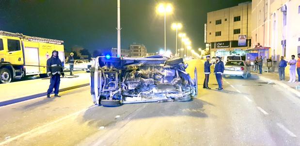 Six people injured in three-car collision