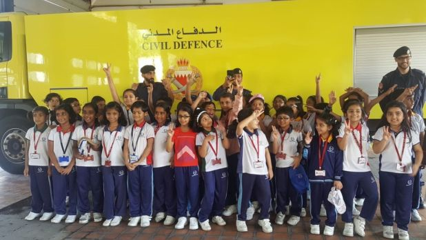 <p>Grade Two students of Bahrain Indian School (Bhavans) visited the Budaiya Fire Station as part of their field learning activity. The seven-year-olds were briefed on the importance of a safe and secure environment, how to tackle emergency situations, use of different fire extinguishers and the necessary precautions to be taken to avoid incidents. Above, students with firemen at the station.</p>