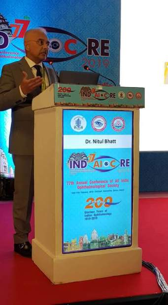 <p>A Bahrain-based eye surgeon has delivered a keynote speech at a major scientific conference in India. Dr Nitul Bhatt addressed more than 20,000 delegates from around the world at the 76th Annual Conference of the All India Ophthalmology Society in Indore. It was held to mark 200 years of ophthalmology in India. He spoke about the 'End Point of Vitrectomy Surgery'. Dr Bhatt is a senior Vitreoretinal surgeon at the Dr Haifa Eye Hospital with more than 22 years of experience in Bahrain. Above, Dr Bhatt addressing delegates.</p>