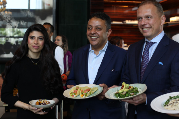 <p>Ms Al Felaij, Mr Fouad and Mr Raab at the event.</p>