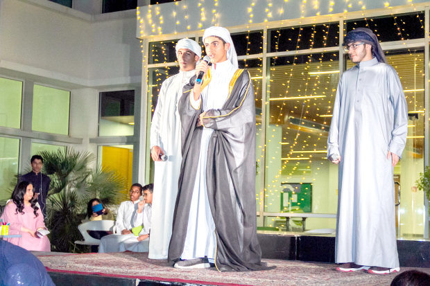 <p>The Arabic team of the Riffa Views International School led by Fuad Al Anzarouti presented a programme, Arabic Under the Stars, to showcase Arabic songs, poetry and stories through the voices and writings of students. Arabic teacher Khulood Saleh sang a song accompanied by Ali Aldairy on the oud while students celebrated the language through Quran recitations, poetry and musical numbers. The students also took part in interactive games with the audience while non-Arabic speakers demonstrated their skills for the language through songs and role-playing. Above, students performing on stage.</p>
