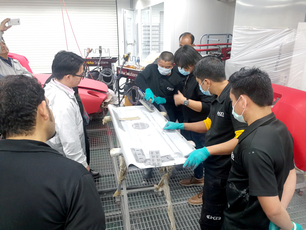 A training session was conducted by the Kanoo Paint Centre (KPC) on the Mirka Optimised Surface Preparation for technicians from multiple private companies in Bahrain. The preparation is a net sanding system solution specifically created for automotive refinishing and is simple with a clearly defined process and maximised performance. The training was conducted by KPC technical training instructor Muhammad Asif and Mirka technical adviser Angileto Revera. KPC is a division of Ebrahim K Kanoo. Above, employees during the training session.