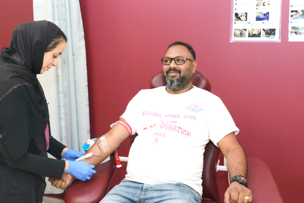 Scores of people donated blood at a donation camp organised by Saaj Technical Mechanical Contracting as part of the company's annual day initiative. The event was held at the King Hamad University Hospital. Above, company managing director Santanu Chowdhury donating blood.