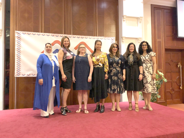 A new board of directors was elected for the American Women's Association at a special ceremony held at the Movenpick Hotel yesterday. The 2019-2020 executive board consists of president Elizabeth Wells, corresponding secretary Deena Hadi, treasurer Beatriz Stoyanoff, recording secretary Jeanie Willson, community service Laila Hussain, parliamentarian Lia Wright and Janice Peters in membership. Above, from left, Ms Hadi, Ms Stoyanoff, Ms Wells, Ms Willson, Ms Hussain, Ms Wright and Ms Peters after the election.