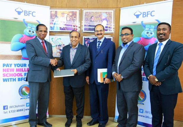 Bahrain Financing Company has teamed up with New Millennium School-DPS for school fee collection.  Parents can make payments through any of its 51 branches or at www.bfcsmartmoney.com. Each transaction will cost 300 fils per student. Above, at the signing are, from left, BFC general manager Pancily Varkey, RP Group chairman Ravi Pillai, school principal Anil Kuumar Sharma, BFC zonal manager Vipin Mathew and BFC business development officer Toby Mathew.