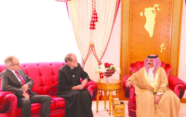His Majesty King Hamad yesterday received at Sakhir Palace the Very Reverend Christopher Butt, dean of St Christopher's Cathedral, marking the end of his tenure in Bahrain. Present was UK Ambassador Simon Martin. The King praised Rev Butt's contribution to humanitarian fields and highlighted the role of St Christopher's Cathedral and other churches in promoting religious tolerance and coexistence.
