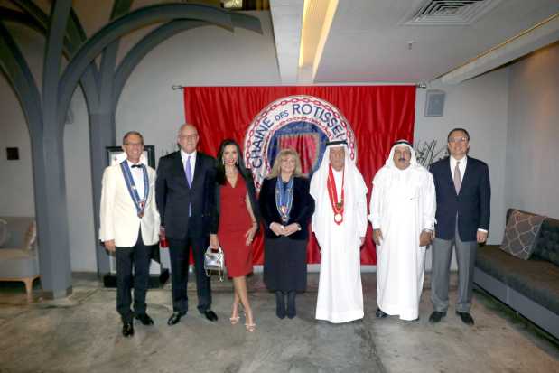 <p>Members of the Bahrain Chapter of Chaine de Rotisseurs, the international gastronomy organisation, gathered at Maki, Bahrain World Trade Centre last night. They were treated to a six-course dinner prepared by award winning chef Louis Kenji Huang. Above, chairman Khalid Almoayyed, third from right, with members and guests at the event.</p>