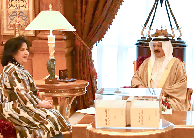 <p>His Majesty King Hamad yesterday received, at Gudaibiya Palace, Bahrain Authority for Culture and Antiquities (Baca) president Shaikha Mai bint Mohammed Al Khalifa, who presented to the King a collection of Baca publications. She also updated the King on Baca's preparations to take part in 2020 Expo Dubai. The King lauded Baca's efforts to conserve heritage and monuments as well as enrich literary and cultural life in Bahrain.</p>