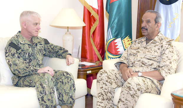 <p>BDF Commander-in-Chief Marshal Shaikh Khalifa bin Ahmed Al Khalifa yesterday received Commander of the US Naval Forces Central Command and Fifth Fleet Vice Admiral James Malloy. He commended advanced military and defence co-operation.</p>