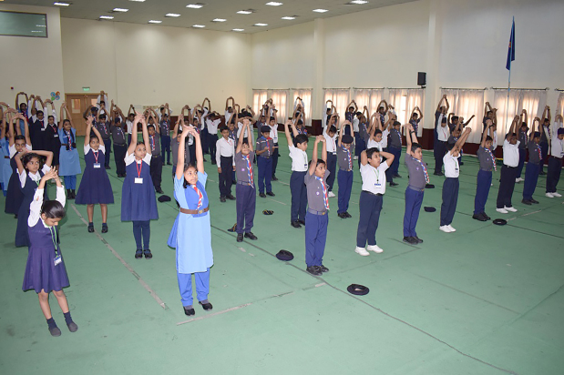 <p><em>One of the exercises at the camp</em></p>