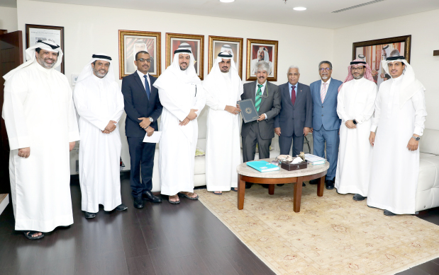 <p><em>Mr Al Tattan, fifth from left, and Dr Al Sayed, fifth from right, with RCO and bank officials.</em></p> <p>Ahli United Bank donated $30,000 to the Royal Charity Organisation (RCO) to finance insulin pumps under Al Faris Support Programme.&nbsp;</p> <div>The cheque was presented by the bank&rsquo;s private banking relationship manager Basem Al Tattan to RCO secretary general Dr Mustafa Al Sayed at the RCO&rsquo;s headquarters in the Seef District yesterday.&nbsp;</div> <div></div> <div>Al Faris aims to provide services to underprivileged children suffering from diabetes.</div> <p><em><br /></em></p>