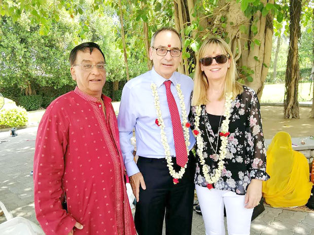 <p><em>Shri Krishna Temple&rsquo;s honorary vice-chairman Bhagwan Asarpota along with Mr Martin and Sophie at the event</em></p> <p>More than 40 Hindu women were invited to the British Embassy to celebrate Vat Savitri, a sacred ritual which involves married women tying a ceremonial knot around a banyan tree and fasting for their husbands&rsquo; long lives.&nbsp;</p> <div>The embassy houses an ancient banyan tree which has been worshipped by Hindu women in Bahrain for more than five generations.&nbsp;</div> <div></div> <div>Ambassador Simon Martin and wife Sophie were present at the event.&nbsp;</div> <p><em><br /></em></p>