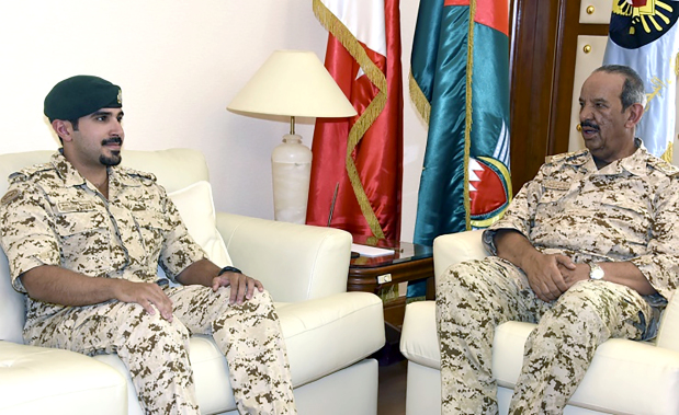 <p>BDF Commander-in-Chief Marshal Shaikh Khalifa bin Ahmed Al Khalifa received Captain Shaikh Mohammed bin Salman bin Hamad Al Khalifa, son of the Crown Prince. The commander-in-chief welcomed Captain Shaikh Mohammed and commended his efforts for the BDF.</p>