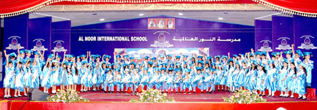 <p>More than 800 KG students of Al Noor International School were presented with their certificates at the end-of-year graduation ceremony at the school's campus in Sitra. The event included a performance by the students. Present were school chairman Ali Hasan, director Dr Muhammad Mashood, principal Ameen Ahmed, teachers, staff members and parents. Above, the students with school officials at the ceremony.</p>