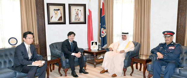 <p>Interior Minister General Shaikh Rashid bin Abdulla Al Khalifa yesterday received South Korean Ambassador Koo Hyunmo, in the presence of Public Security chief Major General Tariq Al Hassan. They discussed bilateral relations.</p>