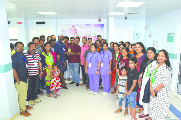 <p>More than 200 people took part in a medical check-up organised by Ananthapuri Association with Al Hilal Multi Speciality Medical Centre at its premises in Adliya. Above, association president Mohan Kumar, officials, staff and families at the event.</p>