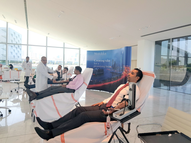<p><em>Some of the employees at the blood donation drive.</em></p>