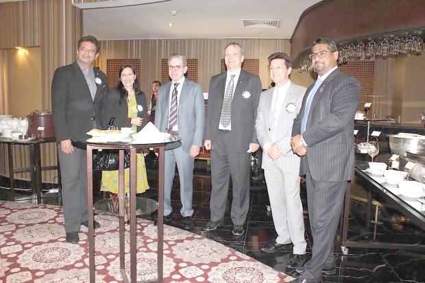 <p><em>At the event are, from left, club service director past president Mohamed Al Khaja, Rotarian Lames Al Hassar, past district governor Khalil Al Sharif, Rotarian Andrew Petty, Rotarian Garfield Jones and Rotary Club of Manama president Khalid Mukhtar.</em></p>