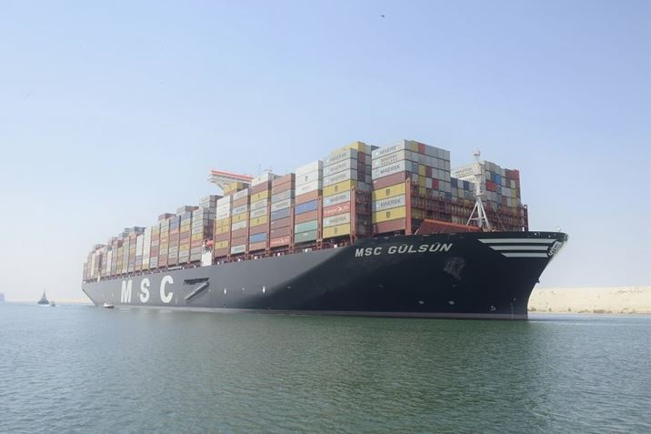 World's largest container ship sails through Suez Canal