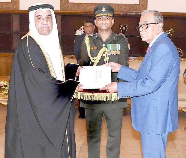 <p>Bangladeshi President Mohammad Abdul Hamid received the credentials of Bangkok-resident Ambassador Ahmed Al Hajri as Ambassador Extraordinary and Plenipotentiary of Bahrain to Bangladesh.</p>