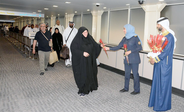 <p>The Nationality, Passport and Residence Affairs (NPRA) welcomed pilgrims in co-operation with the Bahrain International Airport Company upon their arrival after performing Haj.&nbsp;</p>