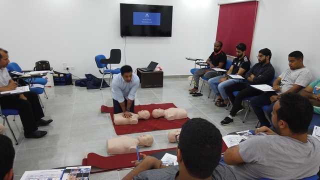 <p>Participants during training.</p>