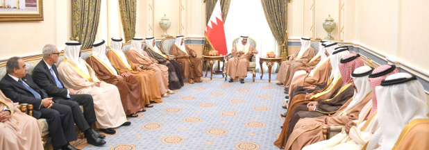 <p>His Royal Highness Prime Minister Prince Khalifa bin Salman Al Khalifa yesterday underlined the government's keenness to encourage investments and diversify sources of revenues to fast-track development and ensure stability and sustainable economic growth. He was speaking as he received at Gudaibiya Palace Royal Family members and senior officials. He discussed local and international issues, lauding the one-family spirit characterising the Bahraini community. The Prime Minister affirmed that current global challenges require joint action to promote growth and preserve hard-won achievements.</p>
