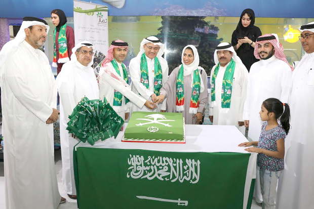 <p>Saudi Arabia's National Day was celebrated at Saar Mall. It was held under the patronage of Northern Governor Ali Al Asfoor, who attended along with Saudi Embassy representative Hala Alwahed, Ramada by Wyndham Manama City Centre executive director Dr Adel Bukhowah, Bokhowa Group managing director Riyadh Bokhowa and human resources director Mohammed Bokhowa. Guests included members of the Bahraini and Saudi communities. Above, Mr Riyadh Bokhowa, third from left, Mr Al Asfoor, fourth from left, Ms Alwahed, fifth from left, and Dr Bukhowah, sixth from left, with other guests at the event.</p>