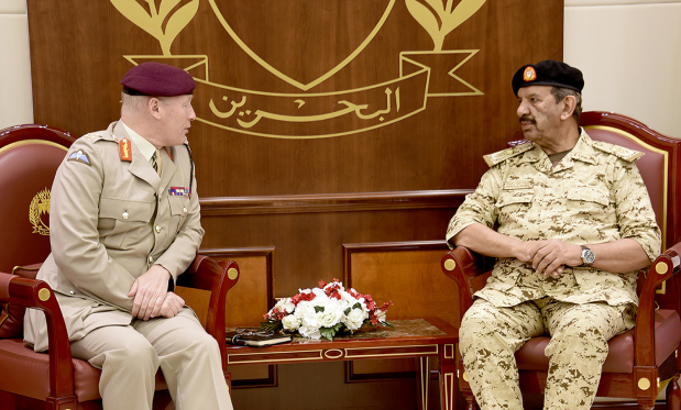 <p>BDF Commander-in-Chief Marshal Shaikh Khalifa bin Ahmed Al Khalifa yesterday received UK Defence Senior Adviser on the Middle East Lieutenant General Sir John Lorimer. BDF Chief-of-Staff Lt-Gen Dhiyab bin Saqr Al Nuaimi attended.</p>