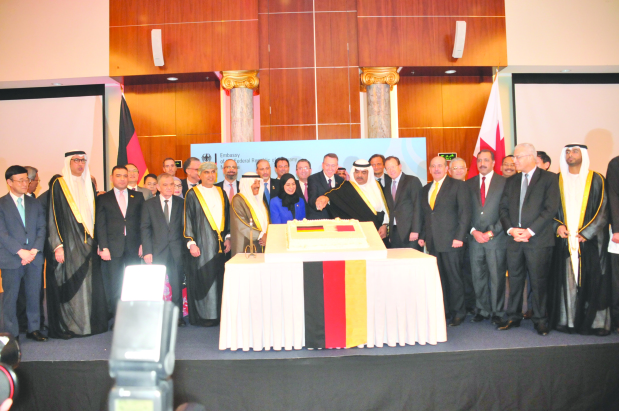 <p>The Premier&rsquo;s adviser Shaikh Salman bin Khalifa Al Khalifa last night attended a reception to mark German Unity Day at the Diplomat Radisson Blu Hotel, Residence and Spa.&nbsp;</p> <div>Ambassador Kai Boeckmann and his wife, Samira Rofa, welcomed diplomats, ministers, MPs and dignitaries at the event.&nbsp;</div> <div></div> <div>It was held on the eve of the Day of German Unity, the National Day of Germany that is observed today to commemorate the anniversary of German reunification in 1990.&nbsp;</div> <div></div> <div>Shaikh Salman and Ambassador Boeckmann cut the cake in the presence of dignitaries to mark the occasion.&nbsp;</div>
