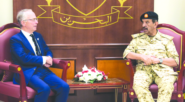 <p>BDF Commander-in-Chief Marshal Shaikh Khalifa bin Ahmed Al Khalifa yesterday received former British chief-of-staff Lord David Richard.</p> <p>He hailed historic ties and stressed Bahrain&rsquo;s keenness to strengthen relations.</p> <p>The commander-in-chief also received Sudanese Ambassador Ibrahim Mohammed Al Hassan Ahmed.</p> <p>The envoy was accompanied by a delegation from Numeiri Higher Military Academy at Sudan&rsquo;s Defence Ministry, headed by assistant director for academic affairs Major General Abu Bakr Isa Al Noor.</p>