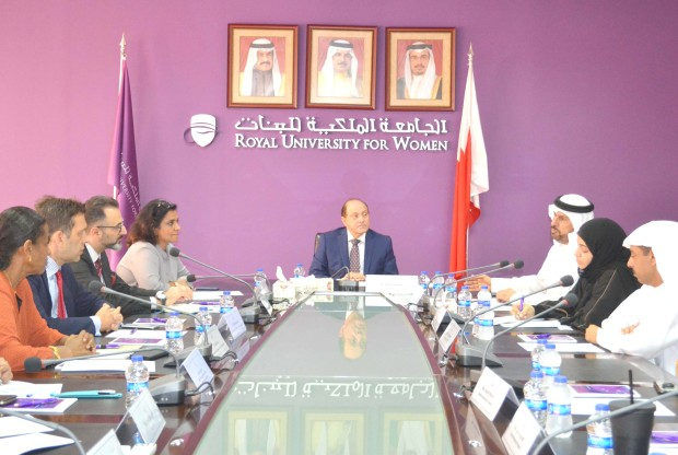 <p>A delegation representing the Kuwait Cultural Office was hosted by the Royal University for Women (RUW) at its West Riffa campus. Collaboration between RUW and Kuwait in various aspects including partnership with Kuwaiti universities, cultural events and academic co-operation were discussed. The delegation included cultural office head professor Abdullah Al Kandari and fellow representatives Manal Khalil and Abd Al Hameed, while RUW acting president Dr David Stewart was present with other officials. The delegation also met Kuwaiti students at RUW. Above, Dr Stewart, centre, with the delegates and RUW officials.</p>
