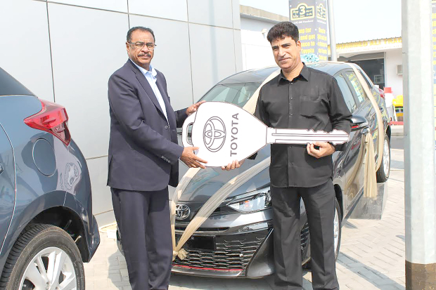 <p>Hussain Alfadhul has won the grand prize of a 2019 Toyota Yaris in a raffle draw organised by Lebanon Trade Centre (LTC). It was held as part of LTC's Shop and Win promotion. Five other winners received LTC shopping vouchers. Above, LTC general manager Hasab Hamid, left, presents Mr Alfadhul with his prize.</p>