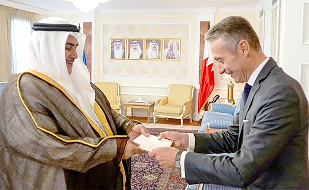 <p>Foreign Minister Shaikh Khalid bin Ahmed Al Khalifa received new French Ambassador Jerome Cauchard who handed a copy of his credentials. He also received former UK Chief of Staff Lord David Richards and Lord George Robertson and commended strong historical relations.</p>