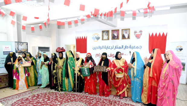 <p>Traditional dance and music were part of a special celebration held at Al Manar Elderly Day Care Society. The celebration, which also included a display of traditional Bahraini heritage and crafts, was held under the patronage of Labour and Social Development Minister Jameel Humaidan. Several Bahraini artists and Bahraini productive families took part. Above, Bahraini women in traditional attire at the event.</p>