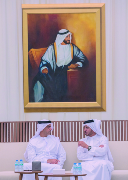 <p>Supreme Council for Youth and Sport first deputy chairman and Bahrain Olympic Committee president Shaikh Khalid bin Hamad Al Khalifa extended condolences on the death of Suhail bin Mubarak Al Katabi as he met UAE Deputy Premier and Interior Minister Lieutenant General Shaikh Saif bin Zayed Al Nahyan and Minister of Tolerance Shaikh Nahyan bin Mubarak Al Nahyan in Al Dhofra region of the UAE. Shaikh Khalid was accompanied by Bahrain's Ambassador to the UAE Shaikh Khalid bin Abdulla Al Khalifa.</p>