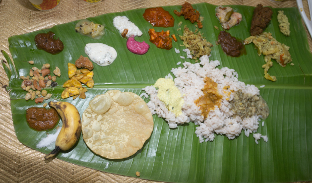 <p>Guests were served on a banana leaf that featured 33 traditional vegetarian dishes.</p>