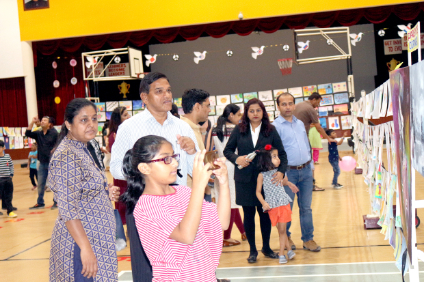 <p>Artworks by students of all ages were featured at an exhibition hosted by the New Millennium School (NMS-DPS) Bahrain. 'Expressions 2019' was held at the school campus in Zinj and showcased drawings, sketches and paintings by pupils from kindergarten to grade 12. A 'parents' corner' was also featured, displaying canvas paintings and drawings contributed by the school's parents community. Above, parents and students at the art exhibition.</p>