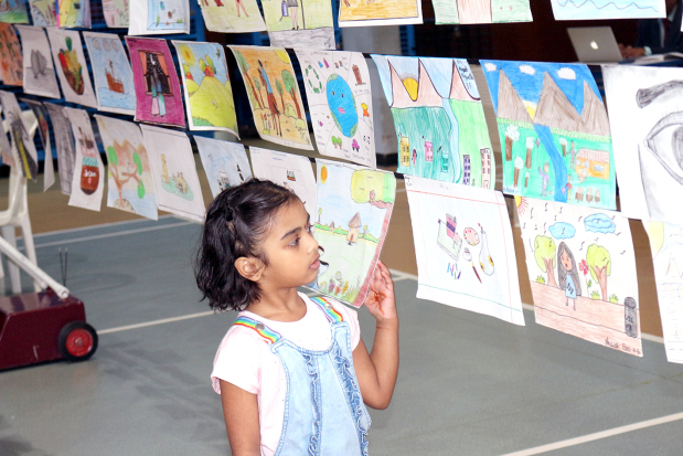<p>Artworks of pupils were displayed.</p>