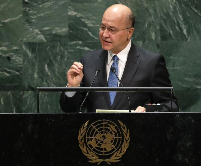 Iraq president Salih condemns attacks on protesters and media in televised speech