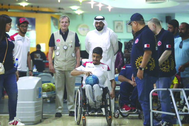 <p>A number of athletes with physical disabilities participated in bowling activities at Funland Centre on Friday. Bahrain Paralympics Committee Secretary General Ali Al Majid attended the event, which was organised by Rotary Club of Salmaniya. Al Majid praised efforts exerted by the club's board members in supporting athletes with physical disabilities. Above, the athletes in action.</p>