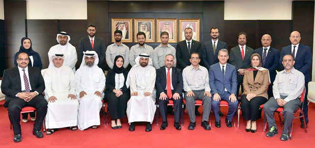 <p>New board members have been elected for the labour union at Gulf Petrochemical Industries Company (GPIC). </p><p>Nineteen candidates contested for seven seats. The elected members are Tarek Al Mazlouk (229 votes), Abdullatif Showaiter (179 votes), Yacoub Youssef (156 votes), Elham Janahi (155 votes), Ghassan Al Rayes (153 votes), Yousef Al Bastaki (149 votes), and Hamad Al Mubarak (144 votes). Meanwhile, Jamal Al Kooheji (136 votes) and Adel Al Murbati (120) were elected as reserve members. </p><p>Above, GPIC president Dr Abdulrahman Jawahery, seated, sixth from left, with the newly elected board members and representatives from the Bahrain Free Trade Union Federation.</p>
