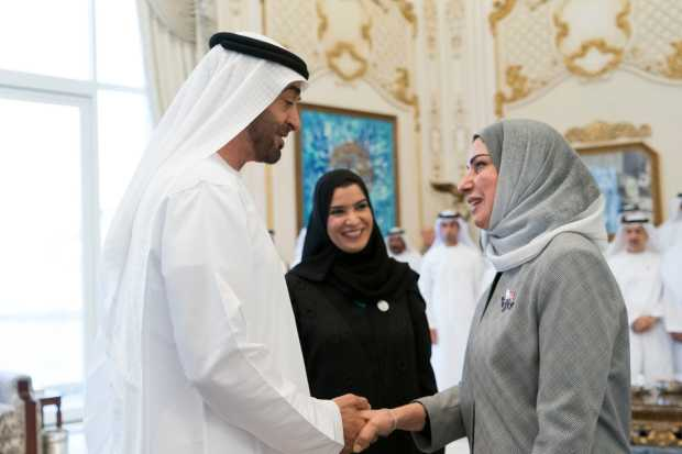 Crown Prince of Abu Dhabi and Deputy Supreme Commander of the UAE Armed Forces Shaikh Mohammed bin Zayed Al Nahyan yesterday received parliament speaker Fouzia Zainal, in the presence of UAE National Federal Council chairperson Dr Amal Abdullah Al Qubaisi, on the occasion of the launch of the Arab Women's Rights Charter.