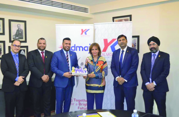 <p><em>Mr Al Zayani, third from left, presents the award to Ms Almoayyed.</em></p><p><br></p><p>Support from Y K Almoayyed and Sons to the Smile initiative has been honoured. During a visit to the company, Future Society for Youth chairman Subah Al Zayani praised the firm for its continuous support of the </p><p>initiative, which is operated by the society and provides social and psychological support for children with cancer and their families. Mr Al Zayani, society vice-president Isa Fulath and director Abdulazim Fawzi also </p><p>presented a shield of honour to company managing director Mona Almoayyed for her support.&nbsp;</p>