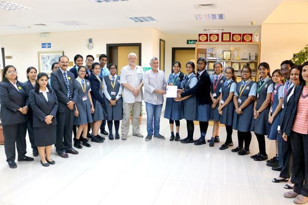 <p>A donation of BD400 has been presented to the BSPCA's Animal Welfare Centre by students from New Millennium School-DPS. The funds were raised through the New Millennium Model United Nations Conference 2019, which hosted around 250 delegates from five schools across Bahrain. School chairman Dr Ravi Pillai, managing director Geetha Pillai and principal Arun Kuumar Sharma appreciated the students for their gesture. Every year the school collects funds through various activities which are donated to charity organisations across the kingdom. Above, students and school officials hand over the donation.</p>