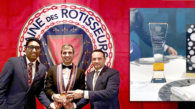 <p>The Gulf Hotel Bahrain's La Pergola by Giancarlo Perbellini has won first place for the 'most memorable dinner' season 2018 to 2019 by the Confrérie de la Chaîne des Rôtisseurs. La Pergola, since collaborating with multi-Michelin Star Chef Giancarlo Perbellini in 2018 has evolved the restaurant's legacy with a composition of innovation and tradition in its menu. The restaurant's other awards include the Best Italian Fine Dine Restaurant by Fact Awards, Bahrain Confidential Best Restaurant and a current nomination for the BBC Good Food and Travel Award Middle East. Above, La Pergola food and beverage manager Sunuj Deen, left, deputy general manager Charbel Hanna, centre, and manager Simone Cassago at the event.</p>