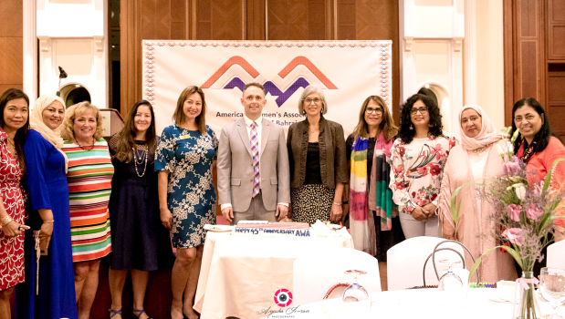 <p><em>At the event are, from left, Jeanie Wilson, Nabeela Al Qaseer, Elyse McCoskey, Lia Wright, Beatriz Stoyanoff, Mr Austin, Arnie Siberell, Laila Hussain, Janice Peters, Deena Hadi, and Kausar Iqbal</em></p> <p>The American Women&rsquo;s Association celebrated its 45th anniversary in Bahrain with a reception at Movenpick Hotel.</p> <div>It was attended by US consular chief Jeff Austin, association members and guests.</div> <p><em><br /></em></p>