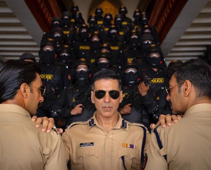 Three supercops - Akshay Kumar, Ranveer Singh and Ajay Devgn - in Sooryavanshi