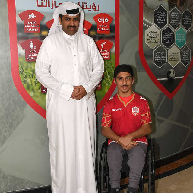 <p>Bahrain Football Association (BFA) secretary general Ibrahim Al Buainain yesterday honoured disabled football fan Abdulla Abduljaleel for his patriotic sentiment following Bahrain's victory over Iran on Tuesday. Abduljaleel was presented with the official national team T-shirt, BFA's commemorative shields and a season card to attend all football matches.</p>